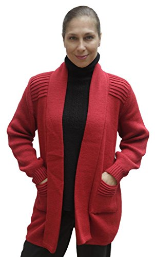 (Women's Soft Alpaca Wool Knitted Coat Sweater (Large, Red))