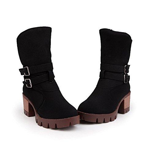 Top Polish Boots AgooLar Kitten Closed Low Toe Dull Black Heels Solid Women's Round qwza6w14