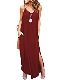 Women's Summer Casual Pockets Strappy Long Dress Loose...