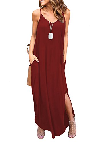 HUSKARY Women's Summer Casual Loose Dress Beach Cover Up Long Cami Maxi Dresses with Pocket... Red