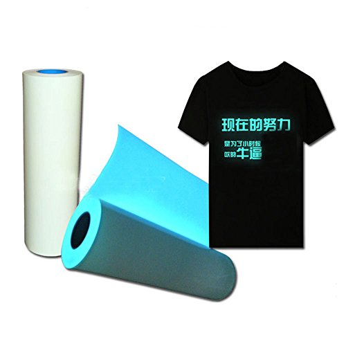 [HOHO] Glow in the Dark DIY T-Shirt Vinyl Heat Press Vinyl Transfer Film Cutter Plotter 50cm100cm (Blue) by HOHO