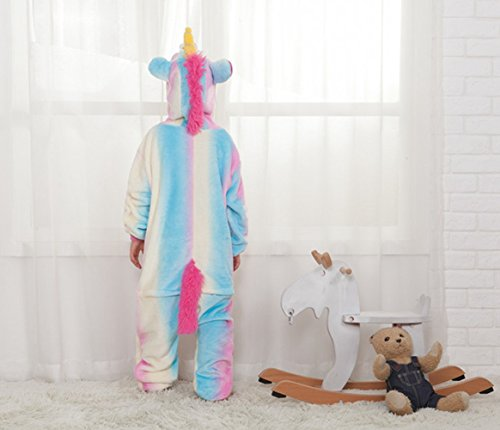Famycos One-piece Animal Costumes Pajama for Unisex Family School Cosplay Party Colored Blue Unicorn Kids-10 by Famycos (Image #3)