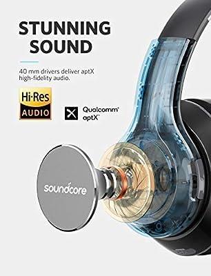 797dc43e583 Over Ear Headphones, Soundcore Vortex Wireless Headset by Anker, 20H  Playtime, Deep Bass, Hi-Fi Stereo Earphones for PC/Phones/TV, Soft  Memory-Foam Ear Cups ...