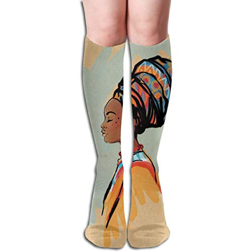 (Compression Socks Graduated Stockings For Men & WomenWatercolor Profile Portrait Of Native Woman With Ethnic Hairdo And EarringsPrevents Swelling,Pain,for Running,Travel,Everyday Use )