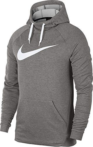 (Nike Men's Hoodie Pull-Over Swoosh, Dark Grey Heather/White,)