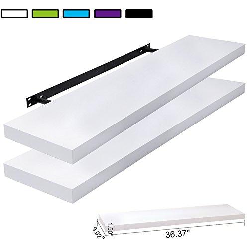 WOLTU AWSX1003whiS100-2 Wood Floating Shelves Floating Wall Shelf Ledge Hanging Storage Bookshelf 39.37'' White Set of 2