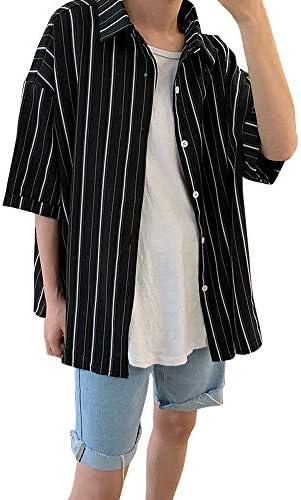 [YACORESYA(夜行列車)] メンズ シャツ 七分袖 長袖 ストライプ柄 大きいサイズ 夏服 通気 涼しい 軽い 柔らかい ゆったり オーバーサイズ ビッグシルエット