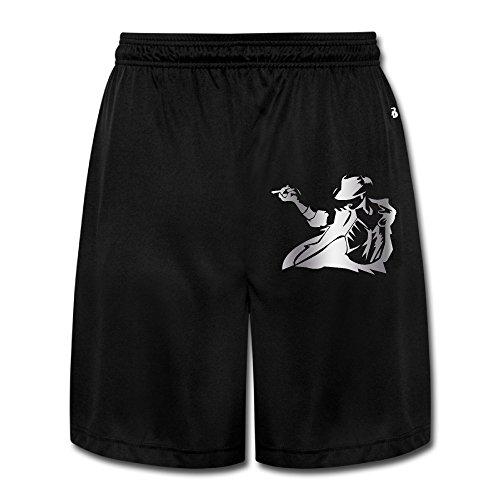 Men's Michael Jackson Platinum Logo Shorts Sweatpants Black (Michael Jackson Billie Jean Outfit)