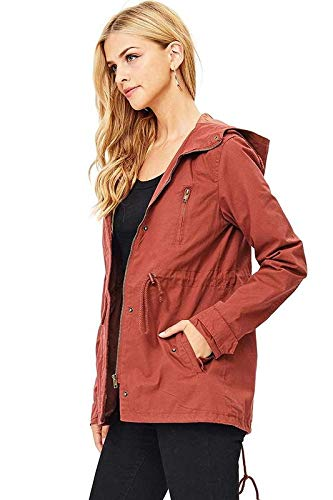 Ambiance Women's Cargo Style Hoodie Jacket Brick Small