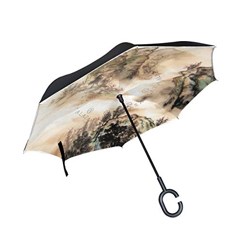 WBKCQB Chinese Landscape Cars Reverse Open Folding Umbrellas, Windproof UV Protection Large Upside Down Straight Umbrella for Car Rain with C-Shaped Handle