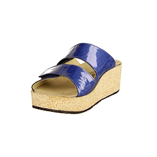Vital Nina 56001-3169- Damenschuhe Pantolette/Zehentrenner, Blau, Leder, Absatzhöhe: 40 mm Keil