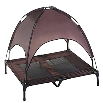 SUPERJARE Large/Xlarge Dog Cot with Canopy Elevated Pet Bed | Indoor or Outdoor | Sturdy 1680D Oxford Fabric | Lightweight & Portable | Extra Carrying Bag | Brown