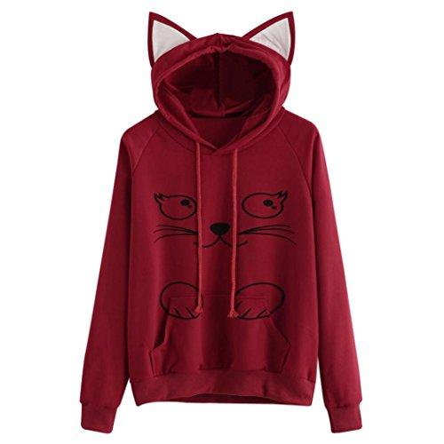 Girls Hoodie, Misaky Womens Cat Ear Blouse Sweatshirt Hooded Pullover Tops