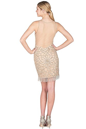 Badgley Mischka Beaded Frynser Kappe Cocktail Kjole biw2YLy