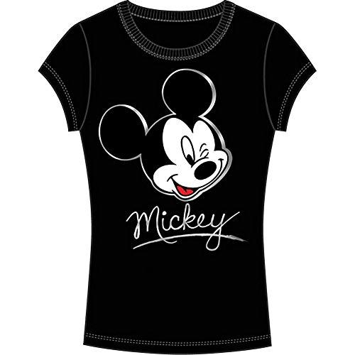 Disney Classic Mickey Mouse 'Wink' Junior Womens T Shirt Top – Black