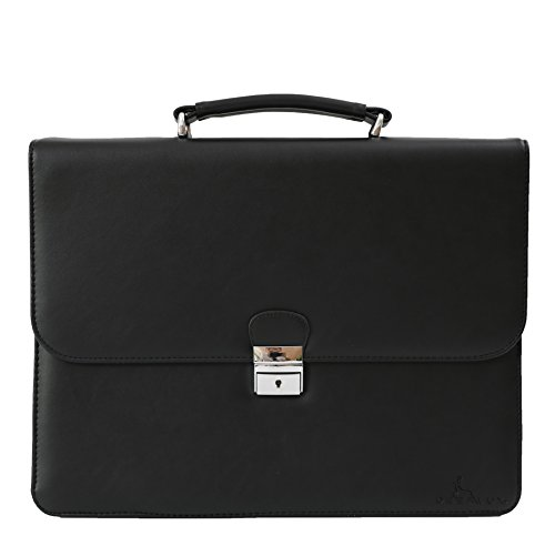 DEERLUX Men's Leather Laptop Briefcase, Black, One Size by DEERLUX (Image #1)