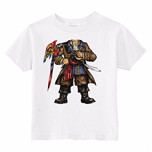 U.S. Custom Kids Pirate Body with A Parrot Toddler T-Shirt, 3T T-Shirt, White Toddler T-Shirt