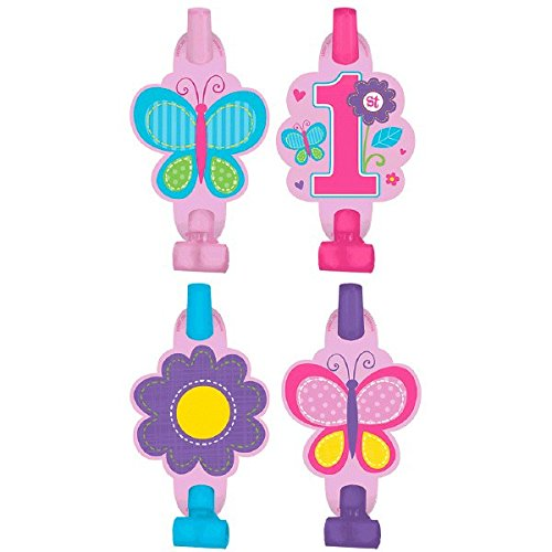 [Flowers and Butterflies Girl's 1st Birthday Party Blowouts, Plastic, 9