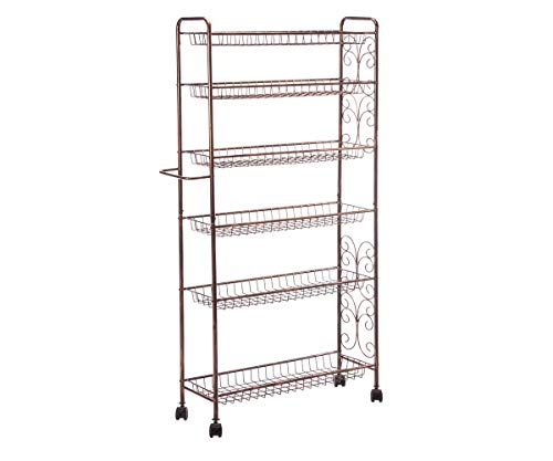 Rolling Cart Storage Rack with 4 Durable Wheels and 6 Wire Shelves   Dual Function Handle and Sturdy Metal Frame