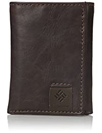 Columbia - portafolios de piel RFID para hombre – Gran delgada triple protección vertical de seguridad ranuras para tarjetas de crédito y ventana de identificación