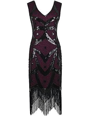 PrettyGuide Women 1920s Dress Sequin Beads Art Deco Fringe Flapper Dress
