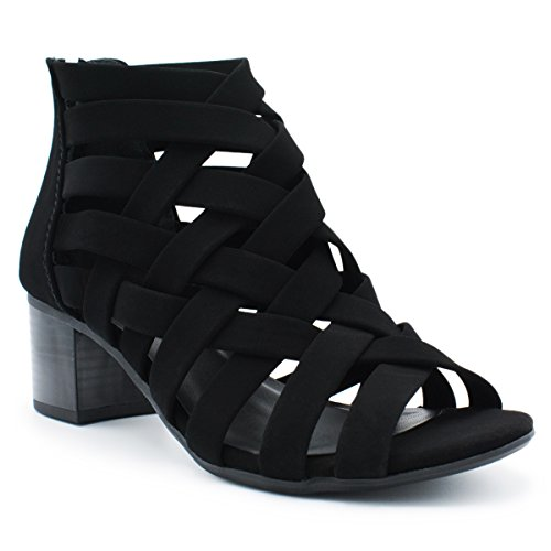MVE Shoes Women's Peep Toe Lace Up Cut Out Gladiator, Cut Out Back Zip Wedge Sandals, Wedge Heel Ankle Booties, MVE Shoes mve shoes horizon black size 9
