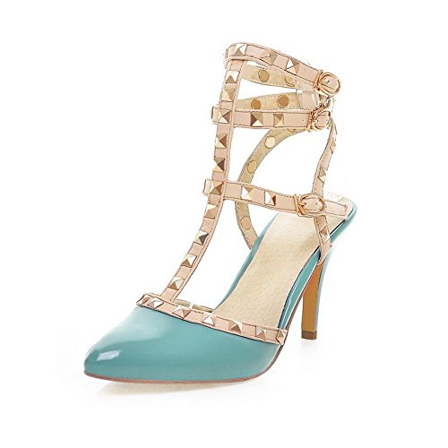 Leather Women's Buckle Assorted Sandals Patent Toe Heels Closed Color Blue High WeenFashion Yq0FdY