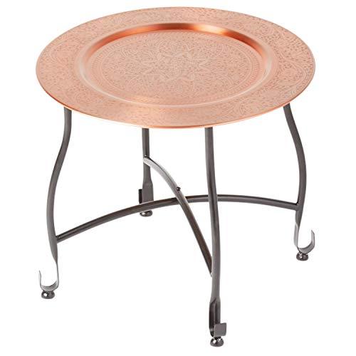 Mesa marroqui Consola auxiliar de metal Sule 40cm redonda - Mostrador de te oriental - Bandeja plegable es oriental en cobre, como mesa de luz