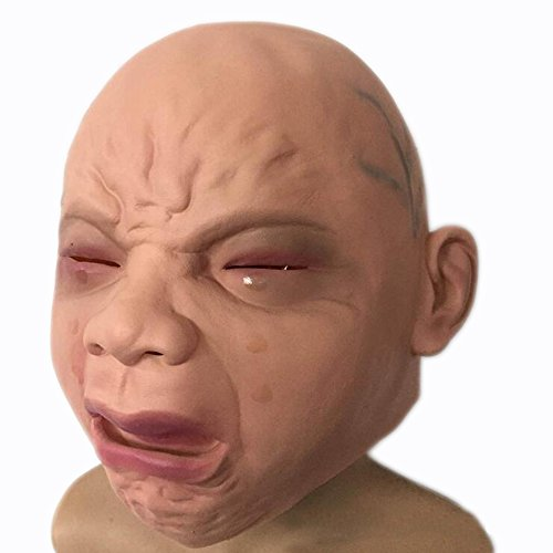 QINJH Head Mask Cry Face Halloween Party Costume (yellow)