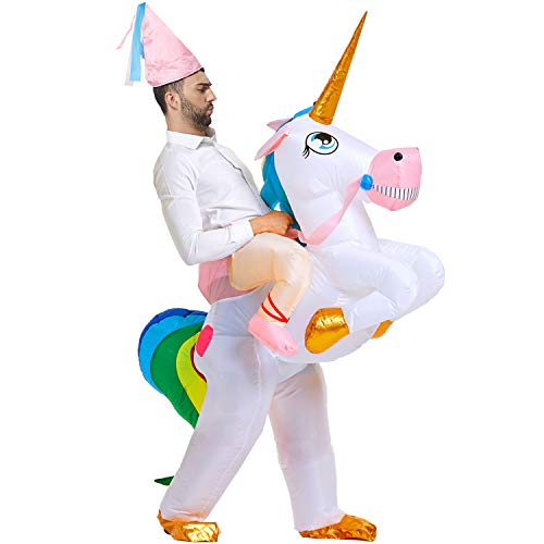 Inflatable Unicorn Riding Costume - Deluxe Edition Halloween Inflatable Costumes For Adults - Blow Up Quickly and Comfortable for Halloween Cosplay Party/Wedding/Bar/Office