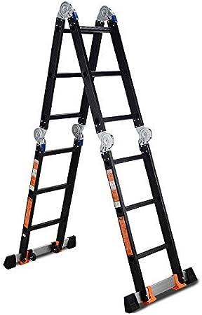 Escalera De Tijera Negra Para Escalera De ExtensióN MultifuncióN Industrial De Aluminio Para Trabajo Pesado, 3.7 M / 12 Pies, 4.7 M / 15 Pies (TamañO: 1.8 M + 1.8 M=3.7 Escalera Recta): Amazon.es: Hogar