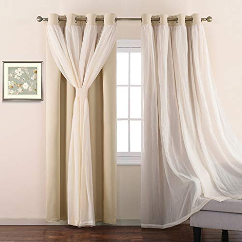 NICETOWN Double-Layer Mix & Match Dressing Biscotti Beige Sheer Plus Blackout Curtains for Sliding/Patio Door, Window Treatment Draperies (1 Pair, 95-inch Long, Tie Backs Included) (Window Treatments Curtains)