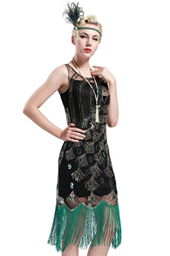 BABEYOND 20's Vintage Peacock Sequin Fringed Party Flapper Dress (X-Large, Black with Green Fringe) -