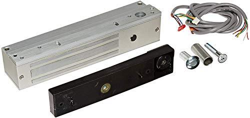 SDC 1581S Mini Exit Check EMLock Single Aluminum Delayed Egress Electromagnetic Lock with Door Position Sensor, 12/24 VDC, 650 lbs Holding Force, 8-3/4