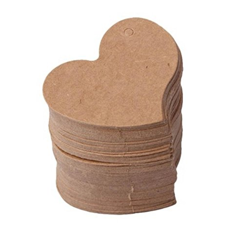 50Pcs DIY Wave Edge Love Heart Gift Kraft Paper Tags Label Hang Tags Wedding Favor Tags Party Gift Tag Name Price Labels Blank Paper Tags with Hole ()