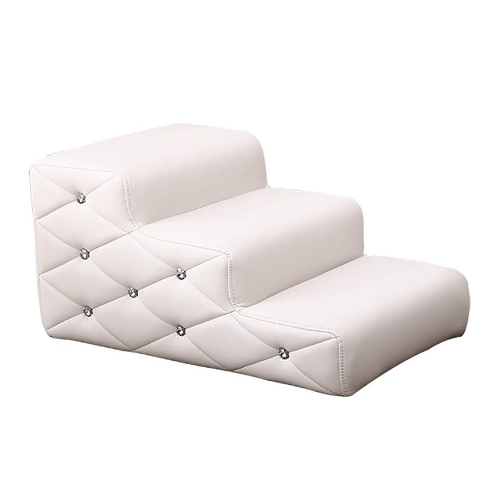 LQQGXLペットの階段 高いソファー、滑り止めの底のための中型の猫ステップペット階段はしご (色 : ピンク) B07QDSHP3P 白  白