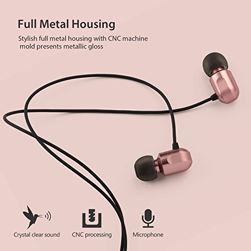 Earbuds, GGMM Headphones with Microphone Full Metal Headphones Earbuds Heavy Deep Bass Earphones Ear Buds, In Ear Headphones for iPhone Android Phone iPad Tablet Laptop by GGMM (Image #1)