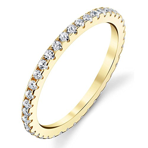 Solid 925 Sterling Silver 14K Yellow Gold Plated Stackable 0.50 (Diamond Silver Eternity Bands)