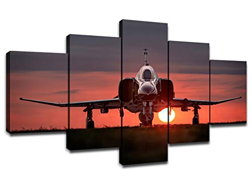 Air Force Aircraft Photos - Chicicio F-4 Phantom II US Air Force Fighter Bomber Interceptor Aircraft Pictures, Wall Art Wall Decor Military Fighter Jet Poster 5 Panel Canvas Artwork Wooden Frame Ready to Hang(60''Wx32''H)