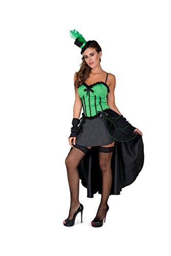Burlesque Costume, Showgirl Dress Cape Women, Green and Black, Small]()