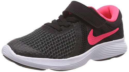 Big Kids Racer - Nike Girls' Revolution 4 (PSV) Running Shoe, Black/Racer Pink-White, 11.5C Regular US Little Kid