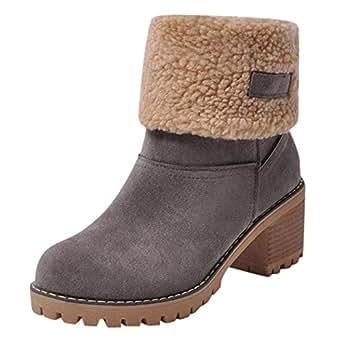 POLP Botas Goma Tacon Zapato Mujer Tacon Ancho Zapatos señora Invierno Botas de Vestir Botines Mujer
