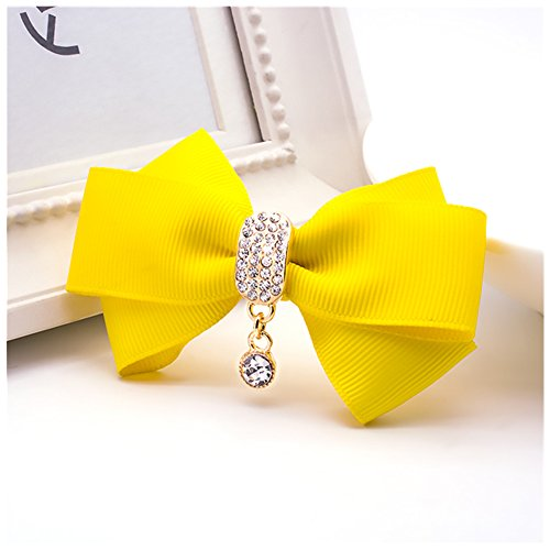 (Douqu Rhinestone Crystal Dangle Center Ribbon Assorted Color Bow Shoe Clips Pair Removable Shoe Buckle (Yellow))