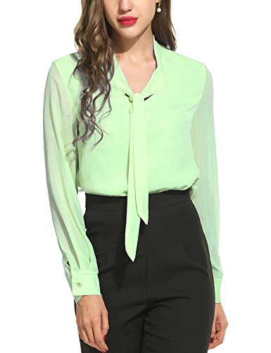 ACEVOG Long Sleeve Work Clothes for Women Chiffon Formal Shirts Office,Green -