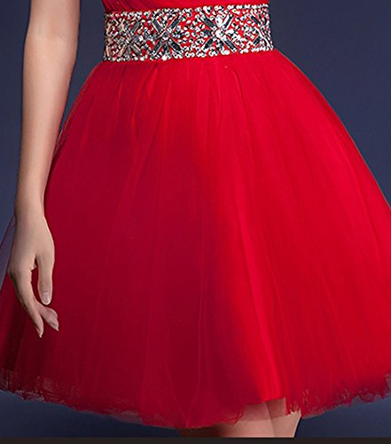 Drasawee Short One Party Beaded Shoulder Red Prom Dress Ball Ruffle Bridesmaid Gown YYBr4qx