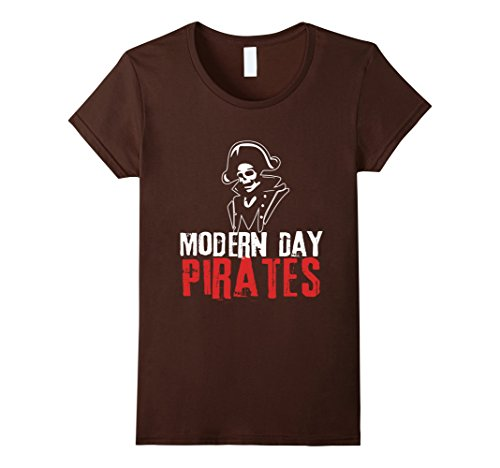 Modern Day Pirates Costume (Womens Modern Day Pirate T Shirt - Amputee Sword Pirate Day Tee Large Brown)