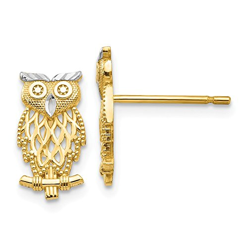 14k Yellow Gold Cut Out Owl Post Stud Earrings Animal Bird Fine Jewelry Gifts For Women For Her ()