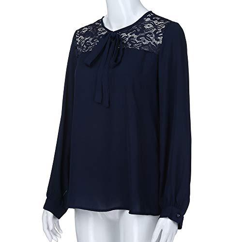 Haut Tops Longue Tunique Chic en Femme Soie Chemisier Mousseline Shirt Marine Lace Blouse Manches Dentelle T Elgante de Chemise qywI8KCTw