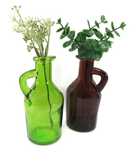Pitcher Bud Vase - Flower Bud Vase Pitcher Bottle Glass with Artificial Greens Decorative Centerpiece Green Brown (Set of 2)