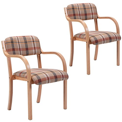 New Set of 2 Bentwood Arm Dining Chairs Accent Upholstered Home Room Decor Furniture/ Brown #861 (Chairs Target Lounge Pool)